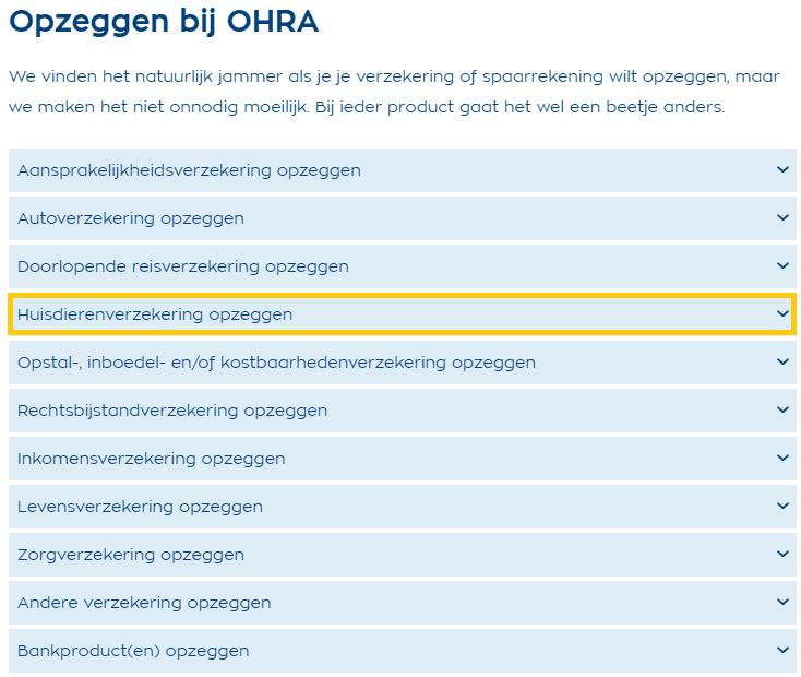Opzeggen OHRA Dierenverzekering